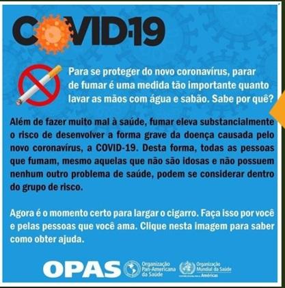 Fumar aumenta o risco de desenvolver a forma grave do coronavírus (Covid-19)