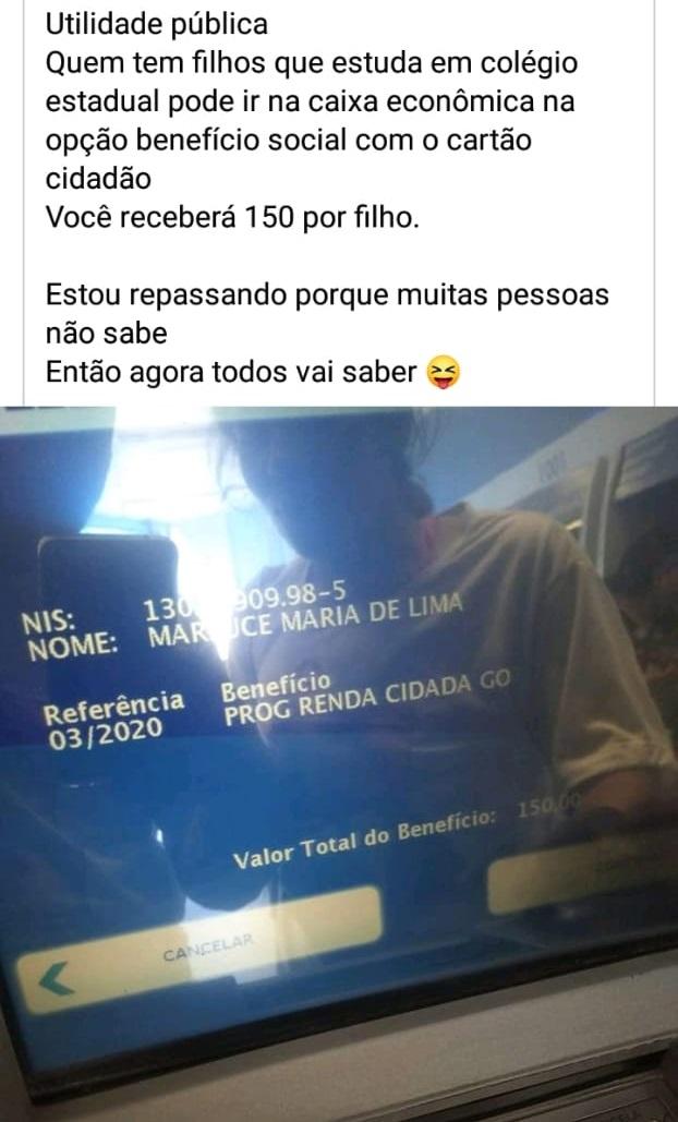 Auxílio de R$150 para quem tem filhos estudantes de escola estadual é verdadeiro, mas não é do Rio de Janeiro