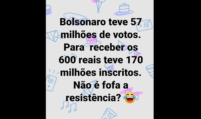 NÃO é verdade que 170 milhões estão recebendo auxílio emergencial por coronavírus no Brasil