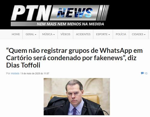 Dias Toffoli NÃO pediu o registro em cartório de grupos de WhatsApp
