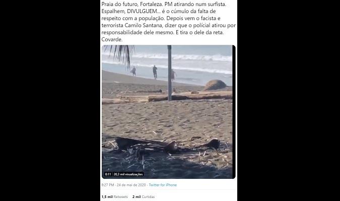 Policial Militar NÃO atirou em surfista em praia de Fortaleza