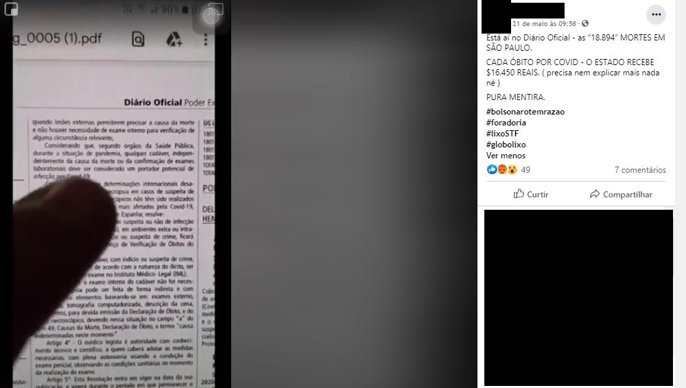 São Paulo NÃO recebe 16 mil reais para cada registro de morte por Covid-19