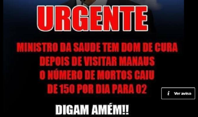 Número de mortes por dia NÃO caiu em Manaus após visita de ministro