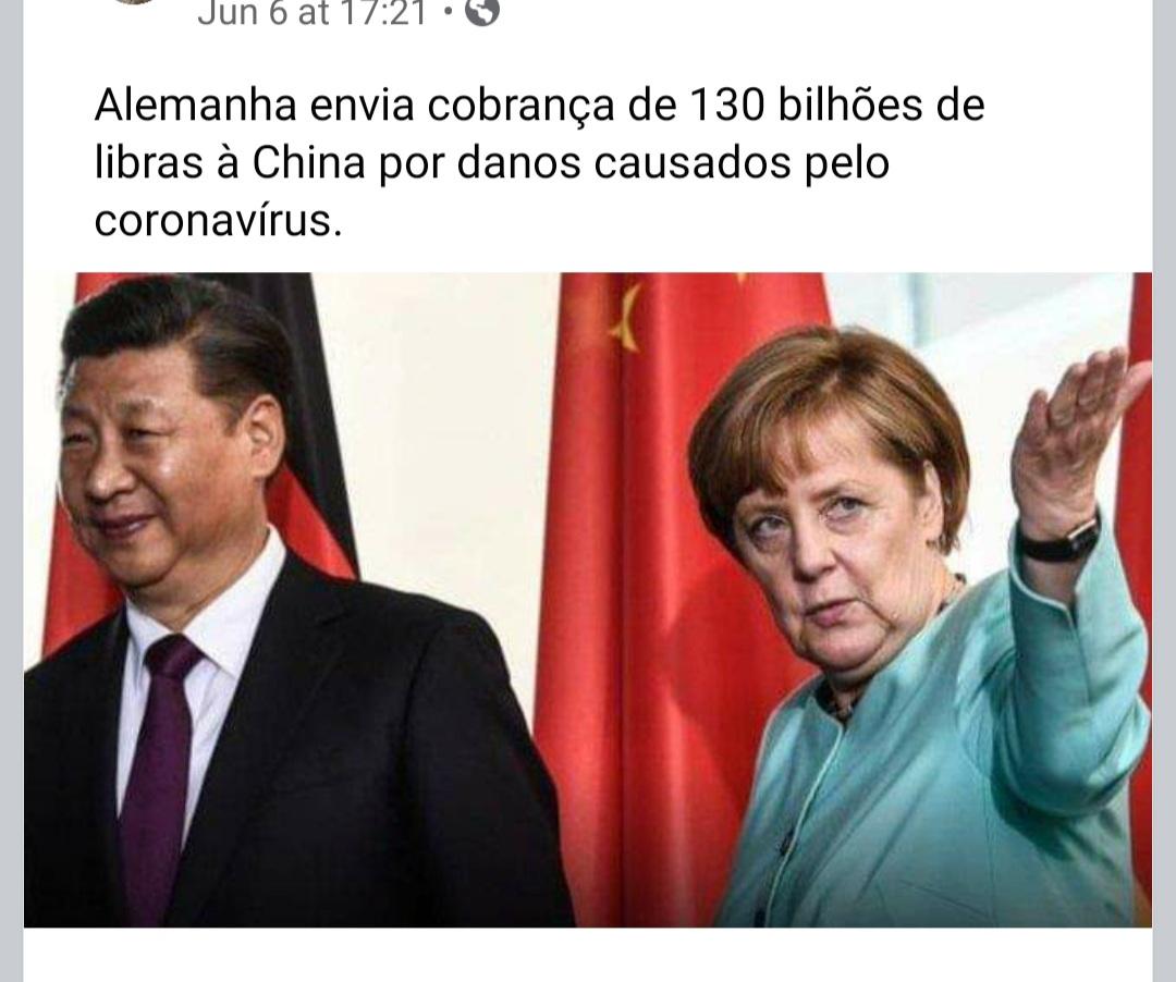 Alemanha NÃO enviou à China cobrança de 130 bilhões de libras por prejuízos com a pandemia