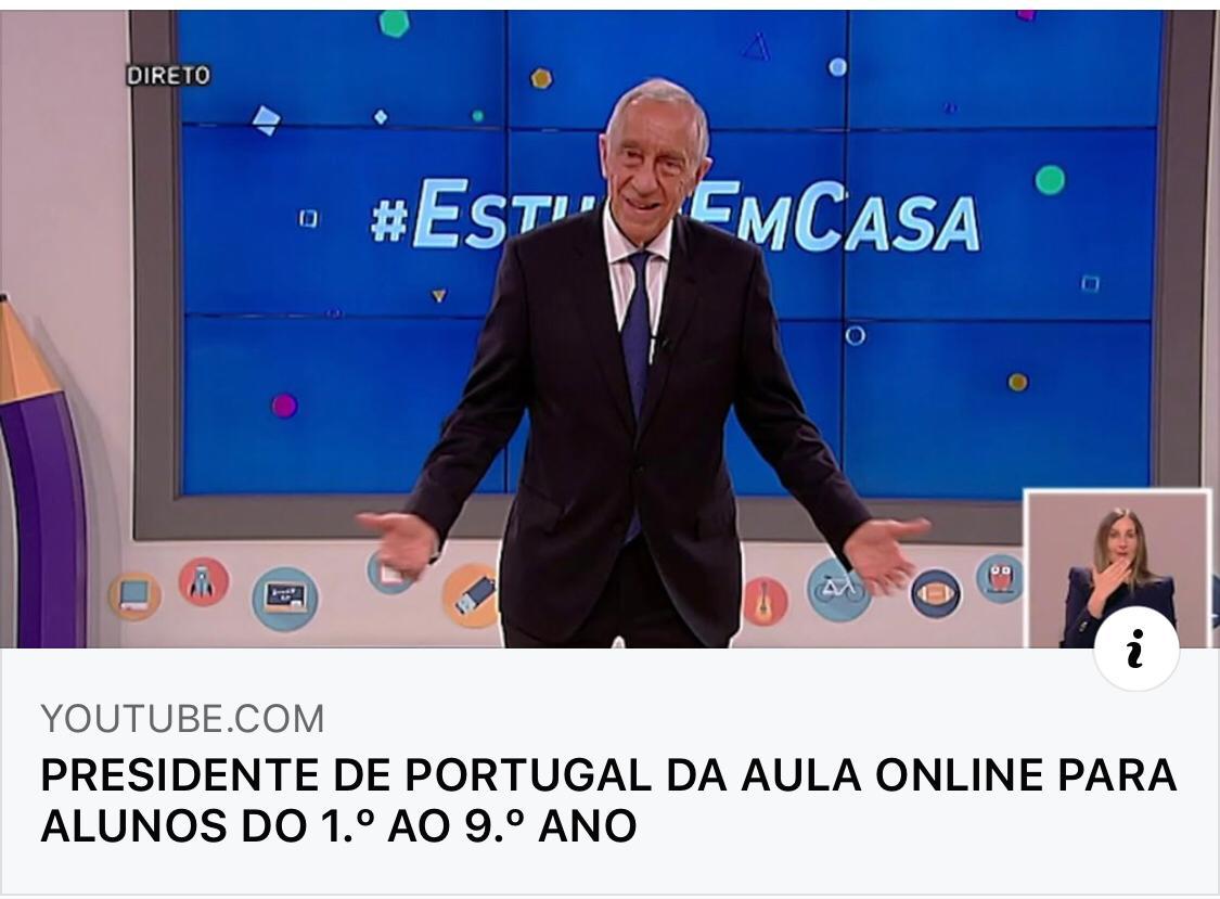 Presidente de Portugal deu aula online para alunos durante isolamento