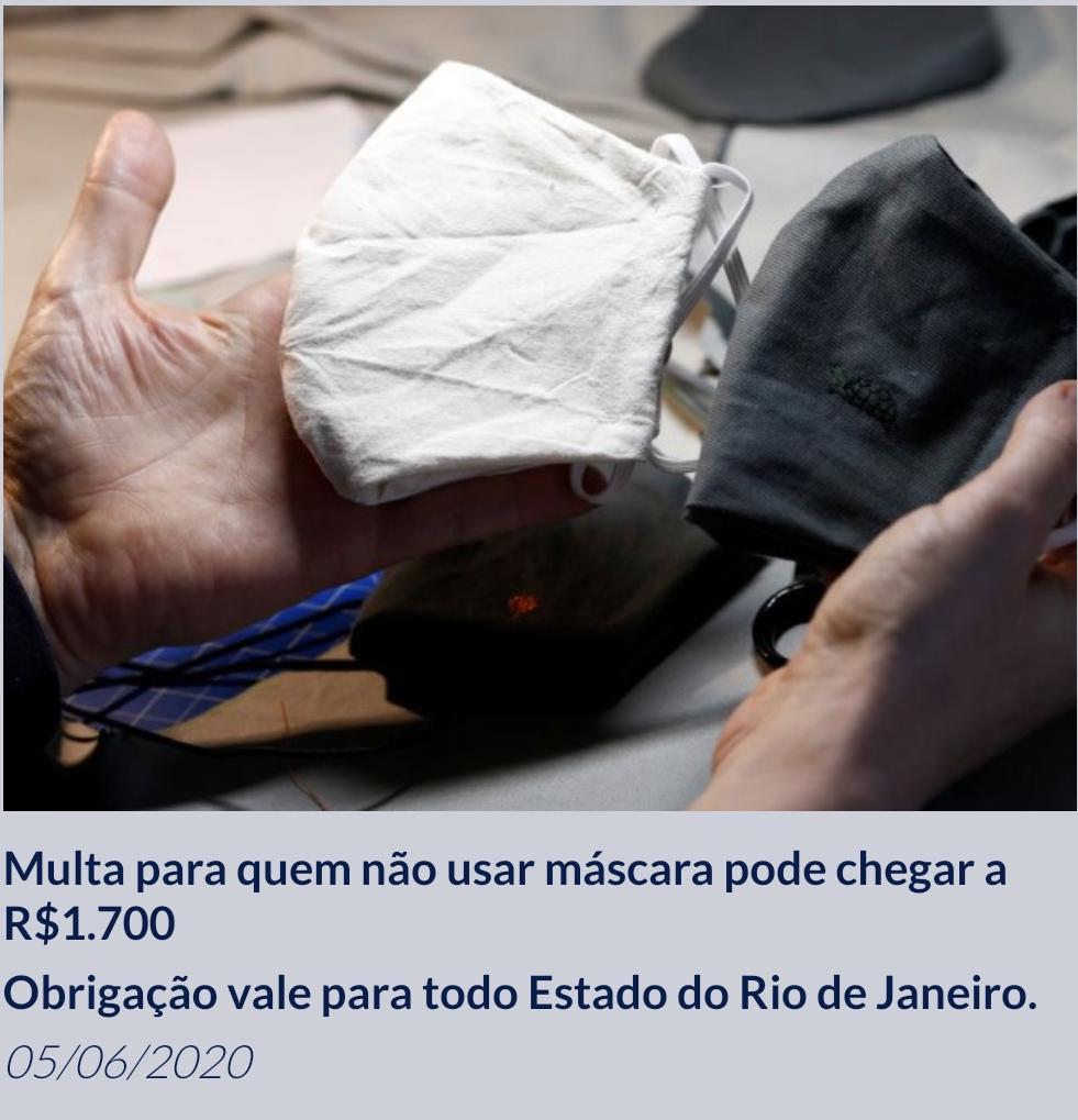 Multa no Rio para quem não usar mascara pode chegar a R$1.700,00