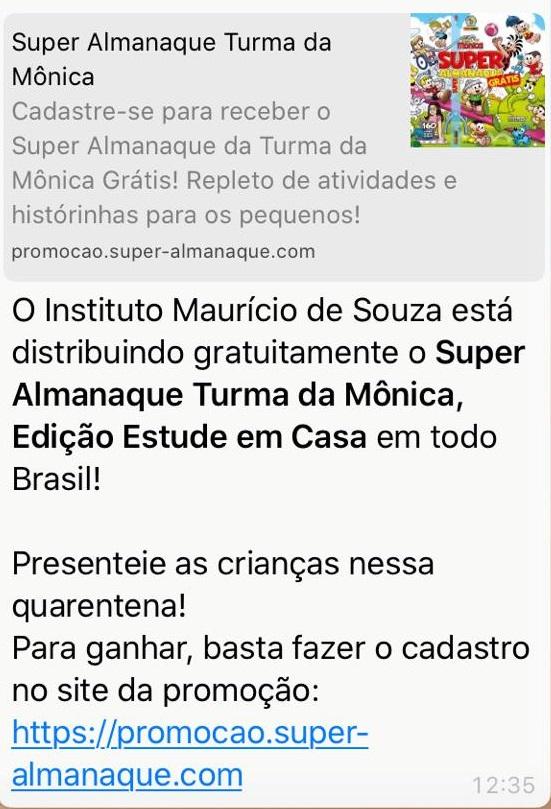 Instituto Mauricio de Sousa NÃO está distribuindo o Super Almanaque Turma da Mônica