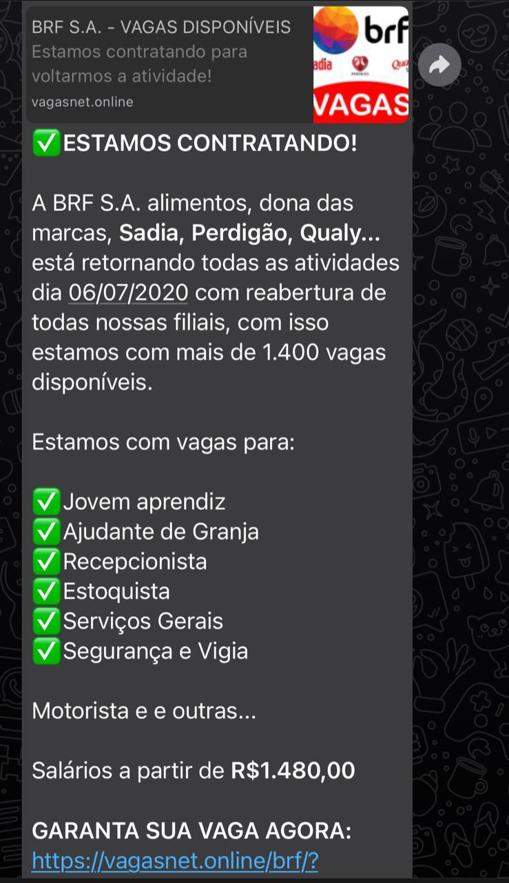 BRF NÃO está com vagas de emprego para quem compartilhar link no WhatsApp