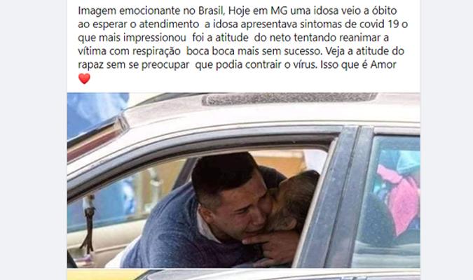 Imagem de homem tentando reanimar a avó que faleceu por Covid-19 não foi registrada no Brasil