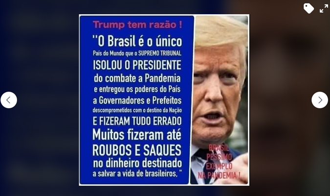Trump não disse que o Brasil é o único país do mundo que o 'Supremo Tribunal isolou o presidente do combate à pandemia'