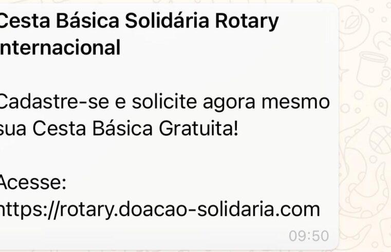 Rotary International NÃO está oferecendo cesta básica solidária