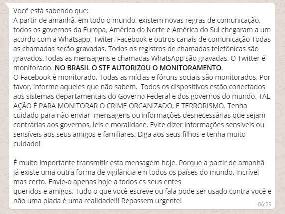 STF NÃO autorizou monitoramento do WhatsApp de todos os brasileiros