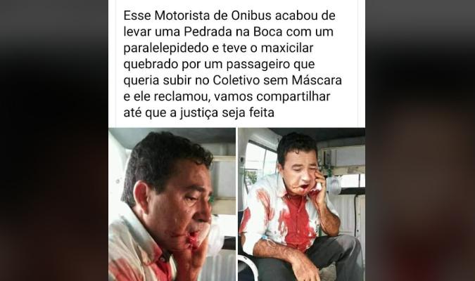 Motorista de ônibus foi agredido com paralelepípedo por reclamar de passageiro sem máscara